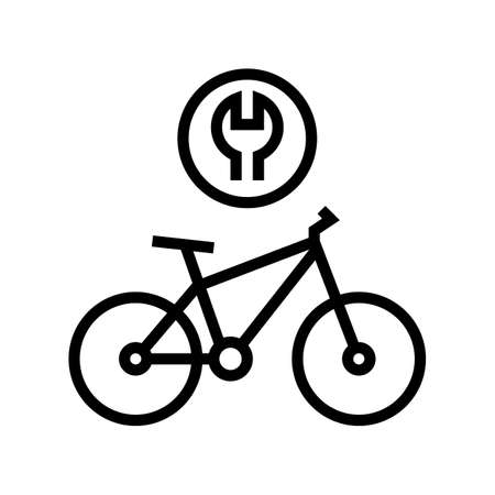 complex bike repair line icon vector. complex bike repair sign. isolated contour symbol black illustration