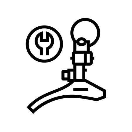 switch front adjustment and replacement line icon vector. switch front adjustment and replacement sign. isolated contour symbol black illustration
