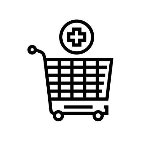 supermarket cart adding products line icon vector. supermarket cart adding products sign. isolated contour symbol black illustration