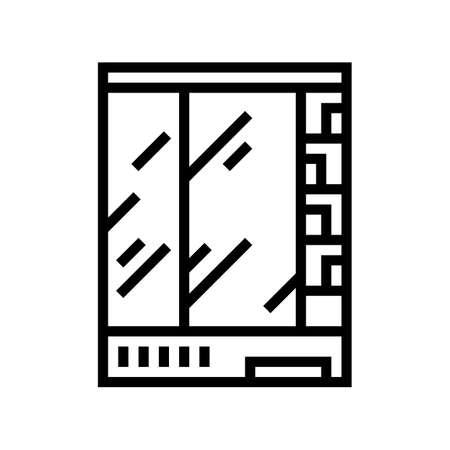 supermarket refrigerator line icon vector. supermarket refrigerator sign. isolated contour symbol black illustration