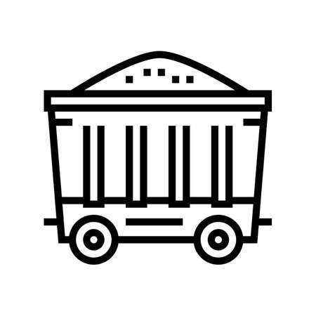 coal wagon line icon vector. coal wagon sign. isolated contour symbol black illustration Stock Illustratie