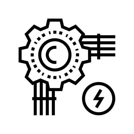 electrical wire line icon vector. electrical wire sign. isolated contour symbol black illustration Иллюстрация
