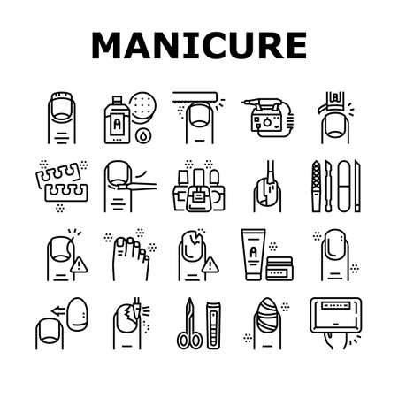 Manicure And Pedicure Collection Icons Set Vector. Nail Polish And Scissors, Tweezers And Cream, Cuticle Nipper And Uv Lamp Manicure Equipment Black Contour Illustrations