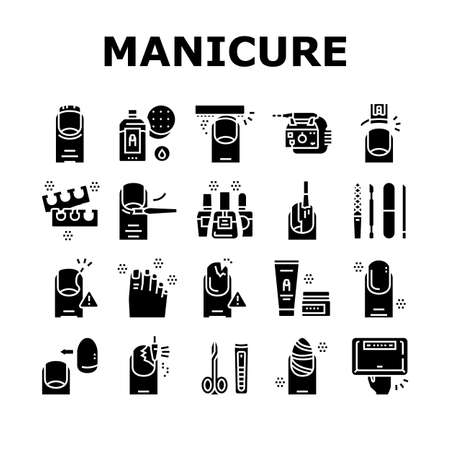 Manicure And Pedicure Collection Icons Set Vector. Nail Polish And Scissors, Tweezers And Cream, Cuticle Nipper And Uv Lamp Manicure Equipment Concept Linear Pictograms. Color Contour Illustrations