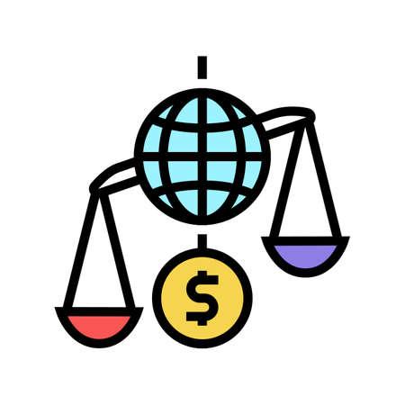 financial crisis world scale color icon vector. financial crisis world scale sign. isolated symbol illustration