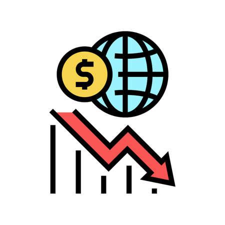worldwide economy crisis color icon vector. worldwide economy crisis sign. isolated symbol illustration