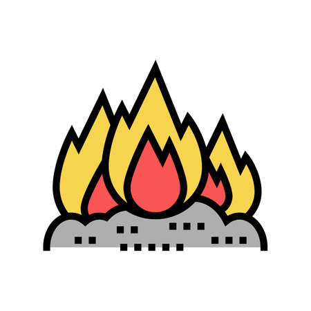 burning carbage color icon vector. burning carbage sign. isolated symbol illustration