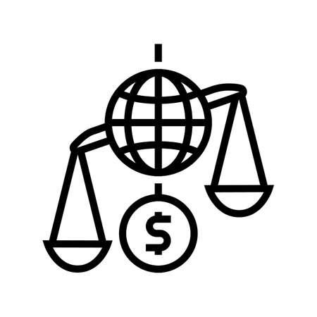 financial crisis world scale line icon vector. financial crisis world scale sign. isolated contour symbol black illustration