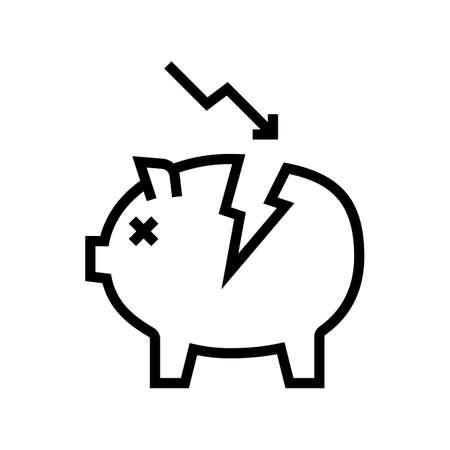damaged money box line icon vector. damaged money box sign. isolated contour symbol black illustration