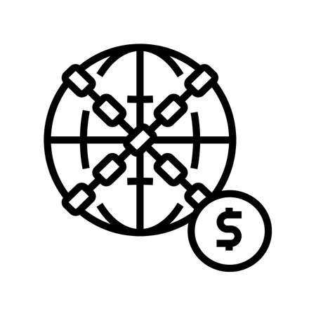 world financial crisis line icon vector. world financial crisis sign. isolated contour symbol black illustration  イラスト・ベクター素材