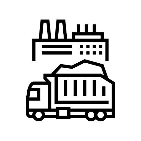 garbage truck and plant line icon vector. garbage truck and plant sign. isolated contour symbol black illustration