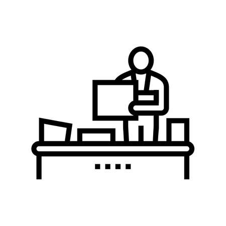 recycling plant worker sorting garbage line icon vector. recycling plant worker sorting garbage sign. isolated contour symbol black illustration