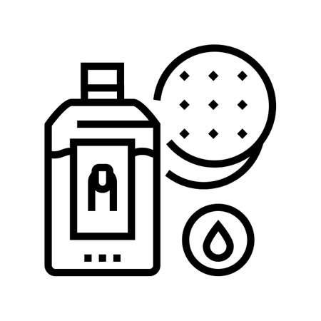 nail polish remover and cotton pad line icon vector. nail polish remover and cotton pad sign. isolated contour symbol black illustration