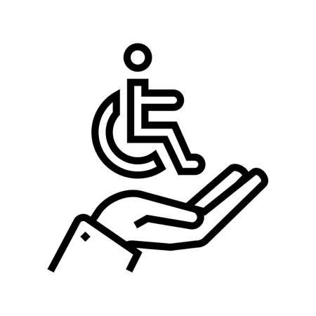 hand hold disabled human sign line icon vector. hand hold disabled human sign sign. isolated contour symbol black illustration