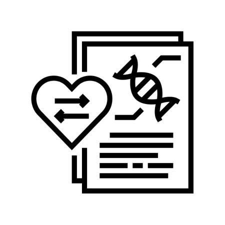 dna research for heart transplant line icon vector. dna research for heart transplant sign. isolated contour symbol black illustration Stock Illustratie