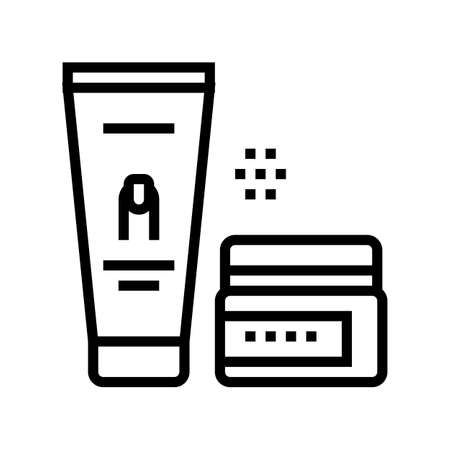 manicure cream cosmetics line icon vector. manicure cream cosmetics sign. isolated contour symbol black illustration 矢量图像