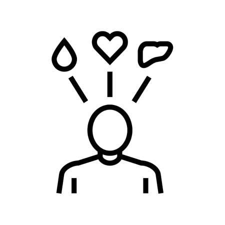 human need organ transplant line icon vector. human need organ transplant sign. isolated contour symbol black illustration