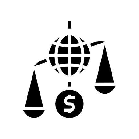 financial crisis world scale glyph icon vector. financial crisis world scale sign. isolated contour symbol black illustration