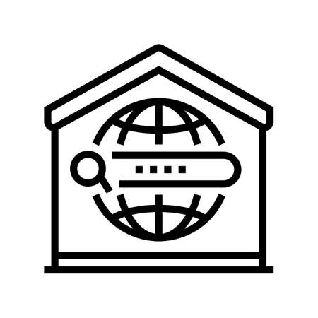 search web site at home line icon vector. search web site at home sign. isolated contour symbol black illustration