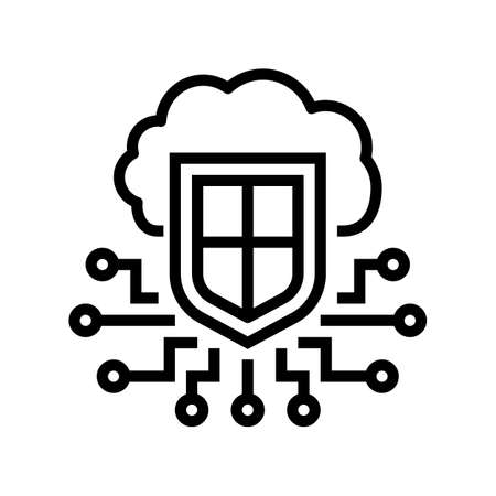 electonic cloud protection line icon vector. electonic cloud protection sign. isolated contour symbol black illustration Ilustracja