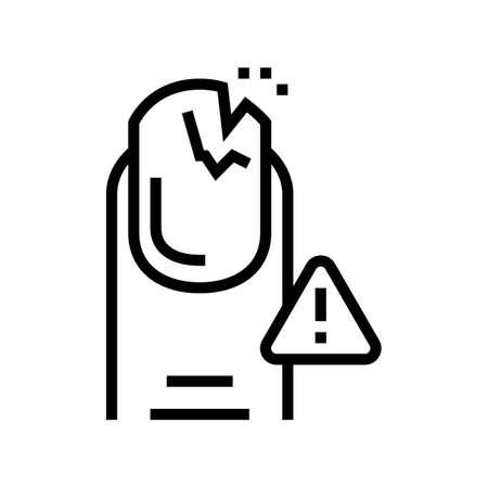 crashed nail line icon vector. crashed nail sign. isolated contour symbol black illustration