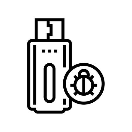 flash drive with virus line icon vector. flash drive with virus sign. isolated contour symbol black illustration
