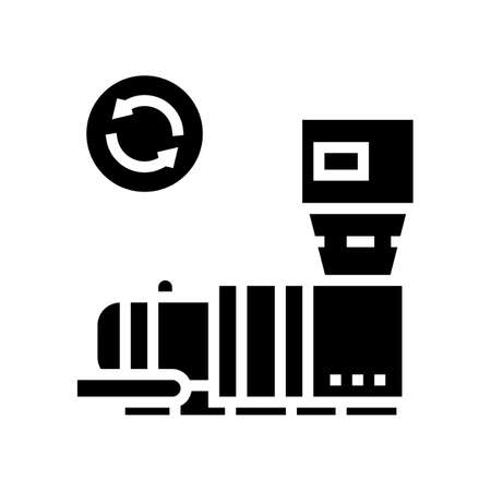 garbage recycling machine glyph icon vector. garbage recycling machine sign. isolated contour symbol black illustration
