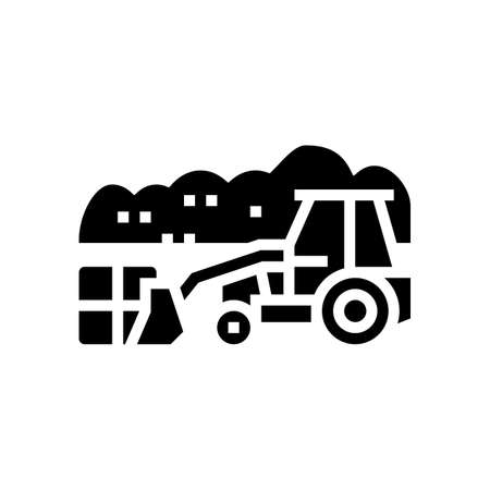 landfill tractor glyph icon vector. landfill tractor sign. isolated contour symbol black illustration Ilustracja