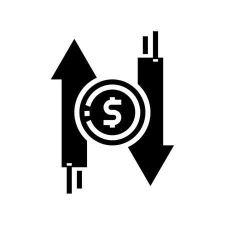 money exchange glyph icon vector. money exchange sign. isolated contour symbol black illustration