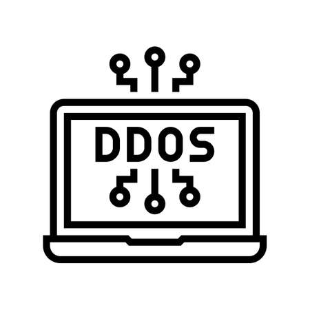 ddos attack line icon vector. ddos attack sign. isolated contour symbol black illustration Ilustracja