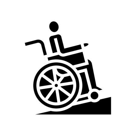 disabled in wheelchair riding glyph icon vector. disabled in wheelchair riding sign. isolated contour symbol black illustration