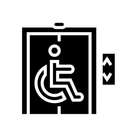 elevator for disabled glyph icon vector. elevator for disabled sign. isolated contour symbol black illustration