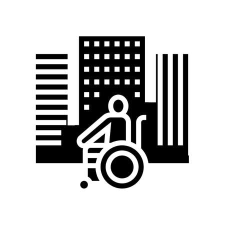 disabled riding wheelchair in city glyph icon vector. disabled riding wheelchair in city sign. isolated contour symbol black illustration