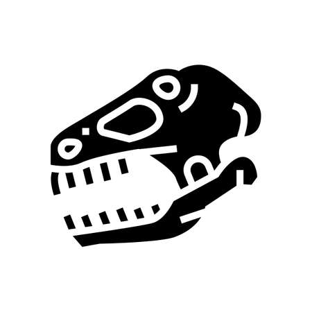 dinosaur skull glyph icon vector. dinosaur skull sign. isolated contour symbol black illustration