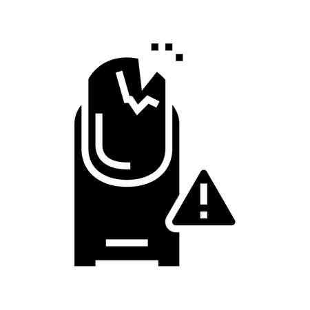 crashed nail glyph icon vector. crashed nail sign. isolated contour symbol black illustration