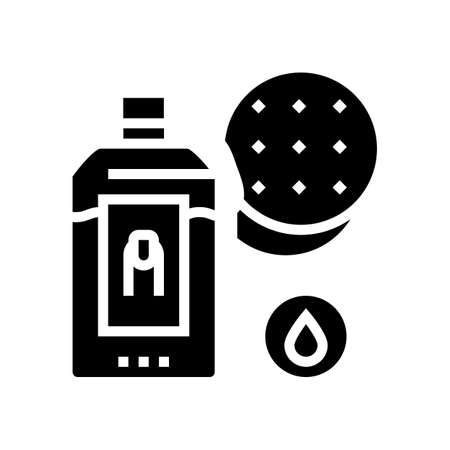 nail polish remover and cotton pad glyph icon vector. nail polish remover and cotton pad sign. isolated contour symbol black illustration