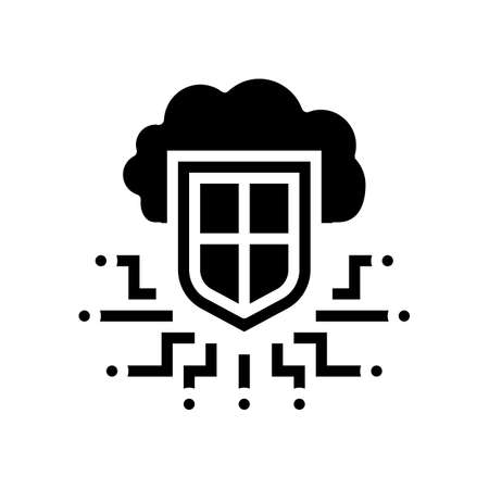 electonic cloud protection glyph icon vector. electonic cloud protection sign. isolated contour symbol black illustration