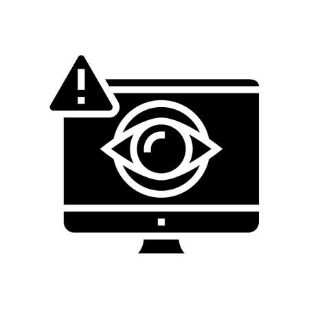 computer user spy glyph icon vector. computer user spy sign. isolated contour symbol black illustration