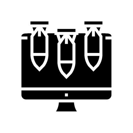 computer attack glyph icon vector. computer attack sign. isolated contour symbol black illustration