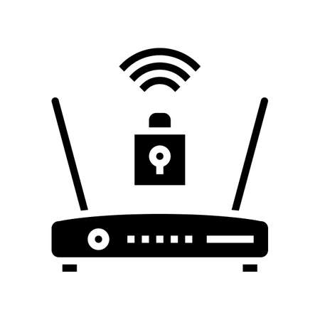 wifi router lock glyph icon vector. wifi router lock sign. isolated contour symbol black illustration