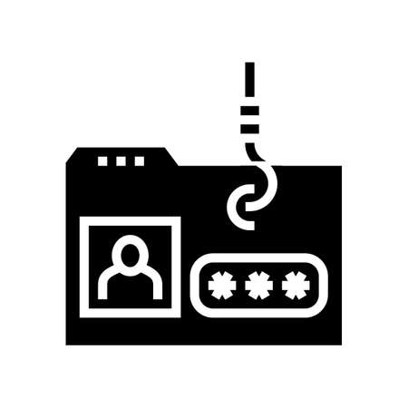 hacking user folder glyph icon vector. hacking user folder sign. isolated contour symbol black illustration