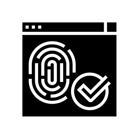 access approved fingerprint glyph icon vector. access approved fingerprint sign. isolated contour symbol black illustration