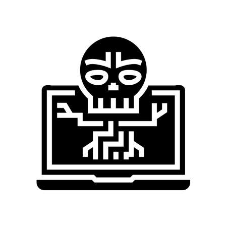 computer death programm glyph icon vector. computer death programm sign. isolated contour symbol black illustration