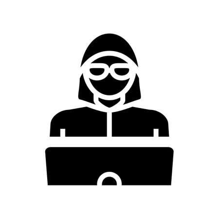 hacker work at laptop glyph icon vector. hacker work at laptop sign. isolated contour symbol black illustration