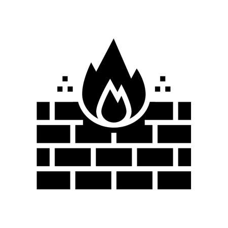 fire wall glyph icon vector. fire wall sign. isolated contour symbol black illustration