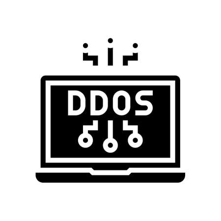 ddos attack glyph icon vector. ddos attack sign. isolated contour symbol black illustration