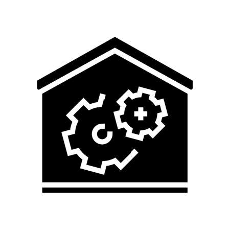 house repair glyph icon vector. house repair sign. isolated contour symbol black illustration Ilustracja