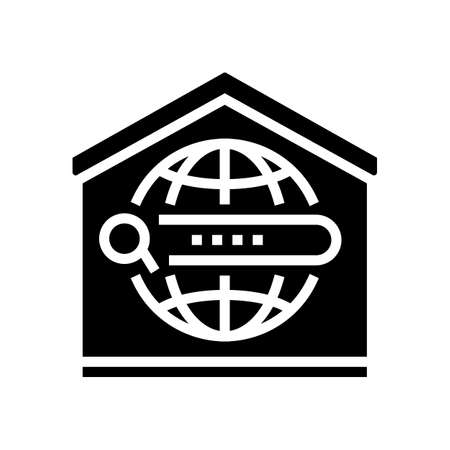 search web site at home glyph icon vector. search web site at home sign. isolated contour symbol black illustration