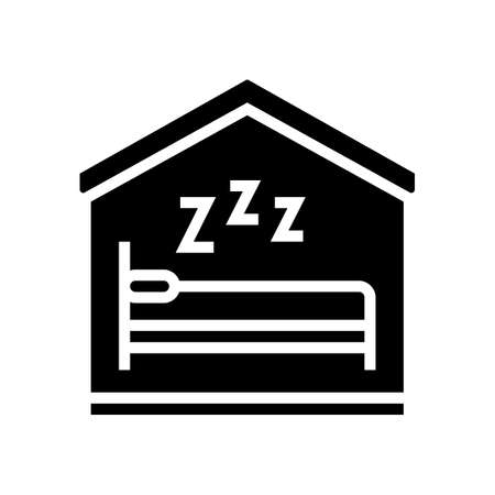 sleeping in bed glyph icon vector. sleeping in bed sign. isolated contour symbol black illustration