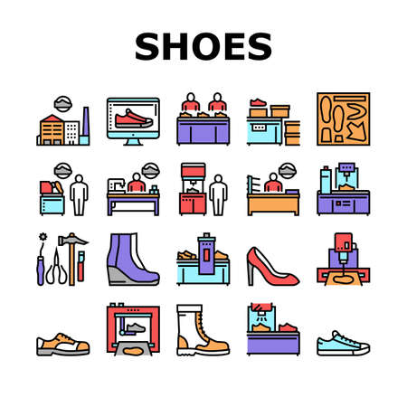 Shoes Repair Service Collection Icons Set Vector. Shoes Fixing And Production Equipment, Factory And Packaging, Design And Manufacturing Concept Linear Pictograms. Color Contour Illustrations